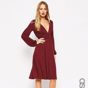 ASOS Slinky Blouson Sleeve Wrap Dress